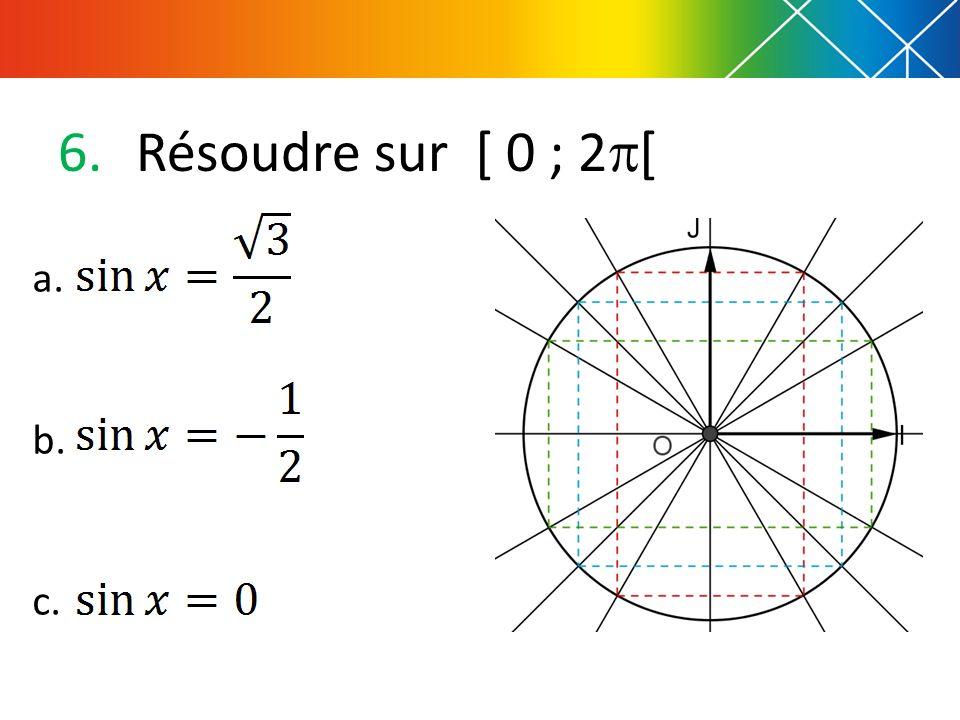 Résoudre sur [ 0 ; 2[ a. b. c.